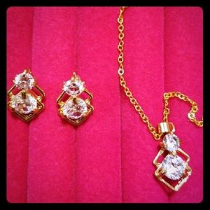 Jewelry - 18K Yellow Gold Plated CZ Earrings & Necklace NEW
